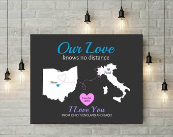 Long Distance Map | Valentines Day Gift | Anniversary | Gift For Her | Gift For Him | Engagement | Travel Map | Gift For Boyfriend - 47677