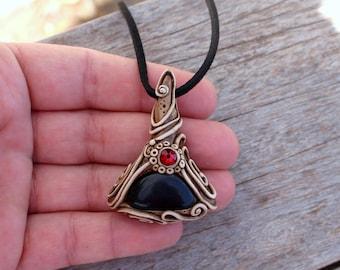 Black Onyx Pendant Necklace , Healing Stones , Handmade Clay Jewelry UNDER 20