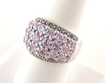 Size 9 Sterling Silver And 4.32cttw Pink Rhinestone Ring With Marcasite Accents