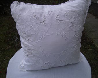 Pillow, white Vintage pillow, Lacepillow, Pillow with  Embroidery, 14x14 inch, Women, Bed room