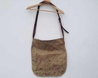 Hunter bag  | Vintage  | 1930s  | French antic  | Canvas/leather | Khaki | Hunting satchel  | Pouch