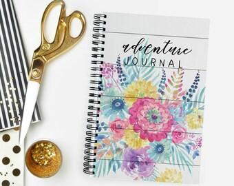 Adventure Bucket List Journal | Floral | 40 Adventure Layouts | Travel Log | Vacation Notebook | 5.5X8.5 | Wire Bound | Lays Flat