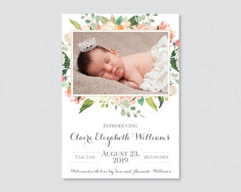 Printable or Printed Peach Floral Photo Birth Announcement Cards - Peach and Green Flower Baby Girl Birth Announcements,  BA06, 0067
