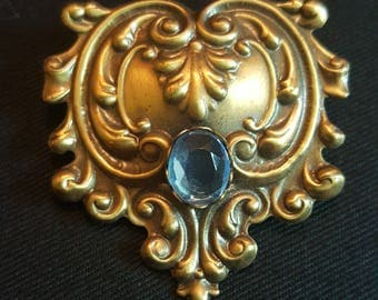 Victorian Replica Brooch With Blue Rhinestone