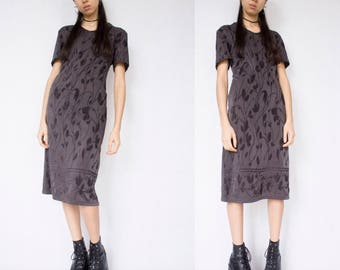 FLORAL MIDI DRESS -gray, velvet, 90s, grunge, goth, clueless, festival, club kid, party, short sleeve, see through-