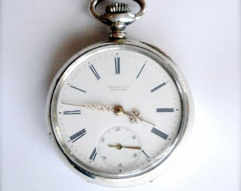 Tiffany Silver Pocket Watch Open Face SWISS Made Circa 1920s 1930s