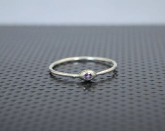 Dainty Sterling Silver Amethyst Mothers Ring, Amethyst Birthstone, Tiny Amethyst Ring, Dew Drop Ring, Stacking Ring, February Birthday Gift