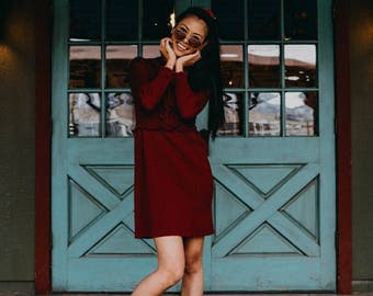 Vintage 1970s Knitted Maroon Short Dress