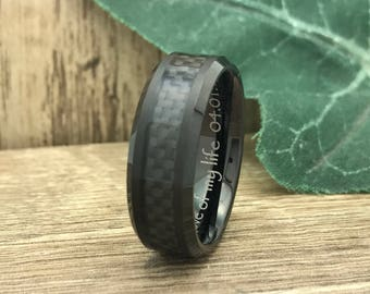 8mm Black Carbon Fiber Ring, Personalize Custom Engrave Tungsten Ring, Black Carbon Fiber Ring,  Comfort Fit, Father's Day Gift