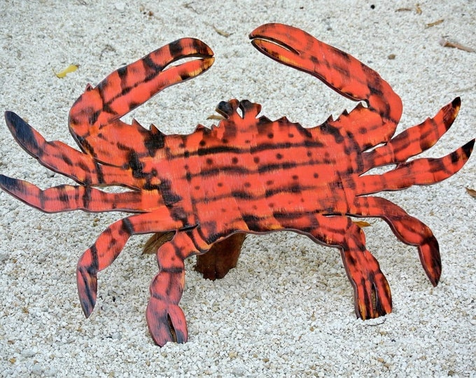 Large Wooden Red Crab Decor, Rustic Wood Crab Wall Art, New house housewarming Gift idea, Wood Outdoor beach sign