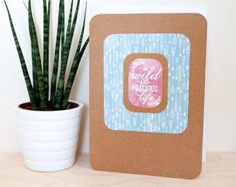 Wild & Precious Life A6 Card; blank inside, motto, motivation, blue, raspberry, nature, brown kraft, arrow, boho, summer, thank you, print