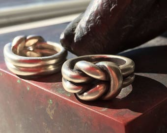 Men's Reef Knot Ring / Hercules Knot / Solid Sterling Silver /Alternative Wedding Band / Hand Made in Australia