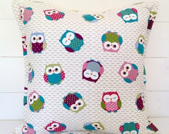 "Cushion Cover, Owls Cushion Cover 16"" 18"" 20"", Owls Pillow Case, Owls Pillow, Owls Cushion, Childs' Bedroom, Nursery, Kids Room, Cute Owls"