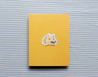 Stay Gold Card | Wolfie Card | Doodle Card | Blank Greeting Card | Birthday Card | Funny Card