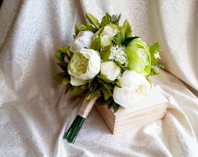 Best quality green creme wedding bouquet silk flowers peonies greenery satin ribbon realistic boho wedding