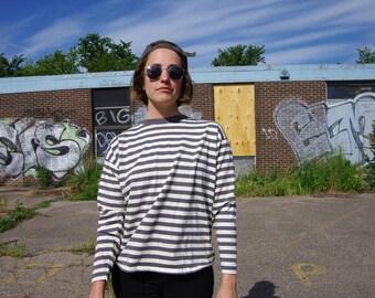 80's CALVIN KLEIN SPORT long sleeve gray / white striped ringer t-shirt size medium