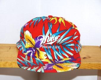 80's MILLER HIGH LIFE red tropical floral snapback baseball hat
