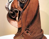 Witch with Rose Sculpture. OOAK Handcrafted & tooled in Leather