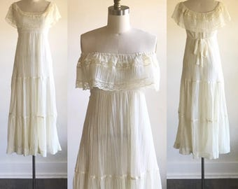 Ivory Wedding Dress Simple Lace 70s