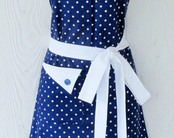 PLUS SIZE Apron. Retro Style,  Polka Dot Apron, Navy Blue with White Polka Dots, 50's Style, KitschNStyle