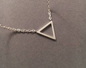 Triangle Necklace, Geometric Necklace, Layering Necklace, Silver Triangle Necklace, Minimal Necklace, UK Seller,Mothers Day Gift