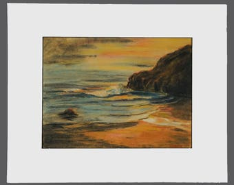 Vintage Martin Pastel Drawing Signed Art Seashore Sea Ocean Beach Horizon