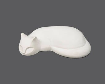 Vintage Chalk Cat Figurine Art Sculpture White Color MCM MOD Modern Designer Decor Miniature