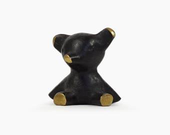 Modernist Brass Bear Figurine Austria Mid Century Modern MCM MOD Designer Decor Art Miniature Hertha Baller Bosse