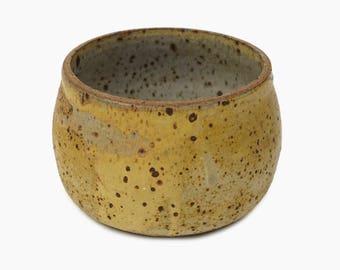 Rudoff Ceramic Vase Studio Pottery Mid Century Modern MCM MOD Art Stoneware Yellow Dotted Dots Small Size