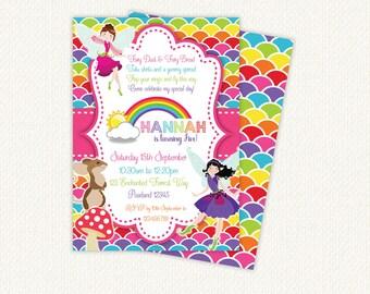 Fairy Birthday Invitation, fairy invitations, rainbow birthday invitation, fairy party invitations, fairies, woodland birthday invitation