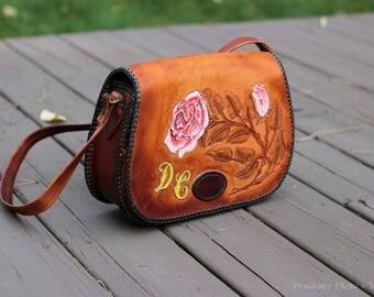 Vintage tooled leather shoulder bag purse with pink rose detail