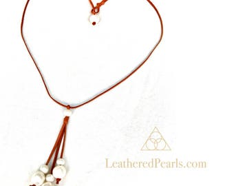 Freshwater Pearls and Leather Necklace