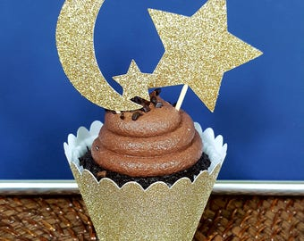 Twinkle Twinkle Cupcake Toppers / 12 Count / Twinkle Twinkle Birthday Decorations / Moon Cupcake Toppers / Star Cupcake Toppers