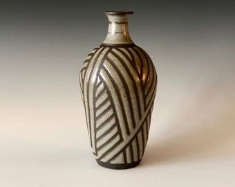 Southwest inspired handmade pottery speckled Gray and Black stoneware bottle vase, decor Haight Pottery Company