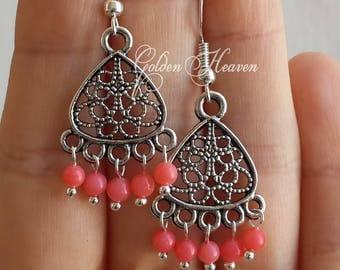 Natural Pink Coral Chandelier Earrings Tibetan Silver 925 Sterling Silver hooks Cute Handmade Jewelry Gift Idea