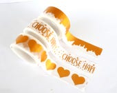 """Set of 3 washi tapes with gold details (hearts, paint, """"choose happy"""")"""