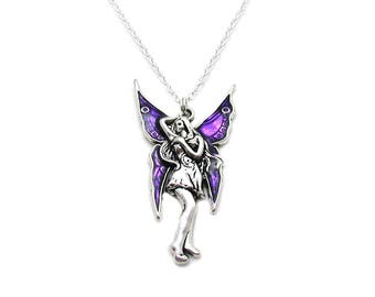 Purple Fairy Necklace, Fairy Pendant, Fairy Tale Necklace, Fairy Jewelry, Silver Fairy Charm, Magical Necklace, Best Friend Necklace