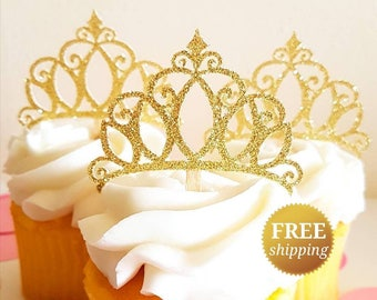 Princess Crown Cupcake Toppers Glitter Crown Toppers Gold Glitter Crown Toppers Princess Baby Shower Glitter Tiara Princess Decorations