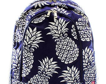 Preppy Pineapple Print Monogrammed School Backpack Navy Blue and White
