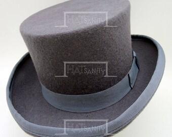 VINTAGE Wool Felt Formal Tuxedo Topper Top Hat for Children / Kids - GREY