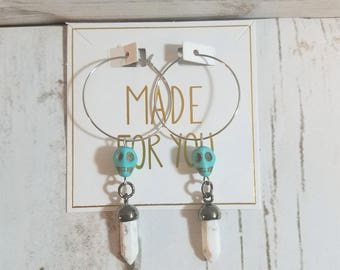Stainless Steel Hoop Earrings with Turquoise Skull and Ivory Polished Stone Accents
