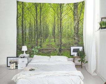 Nature Tapestry, Forest Wall Blanket, Tree Wall Art, Agroforestry Tapestry, Tree Tapestry, Hanging Tapestry, Fabric Wall Hangings