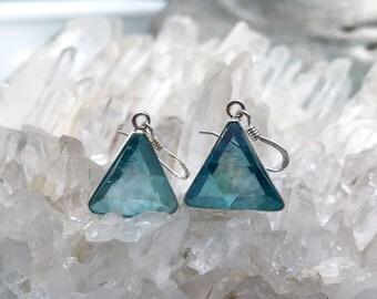 Aqua Aura Vogel - Marcel Vogel Earrings- set in Sterling Silver - A Grade !  Powerful