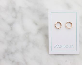 Circle Earrings - 14k Gold or Sterling Silver Earrings - Geometric Earrings - Small Studs - 14k Gold Studs - Minimalist Earrings - Tiny