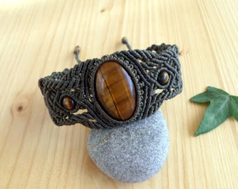 Tigers eye macrame bracelet, macrame stone, gemstone bracelet, tigers eye jewelry, gypsy bracelet, macrame jewelry, hippie bracelet