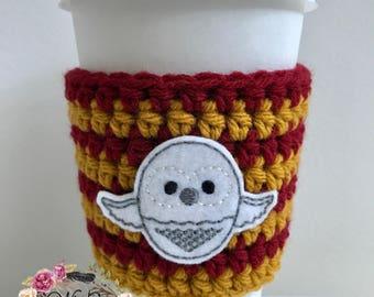 Owl Cozie / Harry Potter / Cozie / Cozies / Coffee Cozie / Tea Cozie / Tumbler Cozie / Crochet Cozie