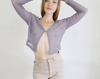 Beautiful Semi Sheer Lilac Cropped Cardigan