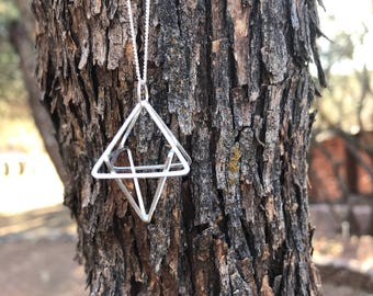 Tetrahedron Argentium and Sterling Long necklace, handmade using recycled and reclaimed sterling silver. SACRED GEOMETRY