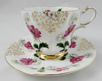 Queen Anne Tea Cup and Saucer with Gold Lace and Pink Flowers, Vintage Bone China