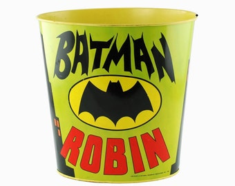 Vintage J Chein & Co Batman and Robin Lithographed Tin-Metal Trash Can Licensed by National Periodical Publications, Inc (DC Comics)
